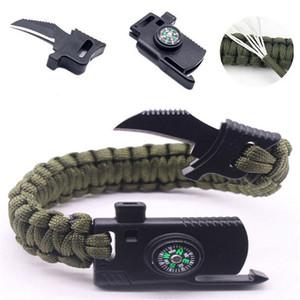 Charm Bracelets MKENDN Men Multi-function Paracord Survival Bracelet Outdoor Camping Rescue Emergency Rope Bracelets with Knife For Women