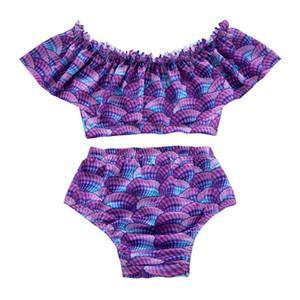 2019 New Baby Girl Swimwear Theme Mermaid Baby Kids Two Piece Swimsuit Sea Princess Scale Baby Bathing Suit Beachwear