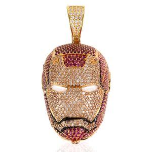 24K plaqué or Glacé Big Iron Men collier pendentif Micro Pavée cubique Zircon charme bling bling Hip Hop Bijoux