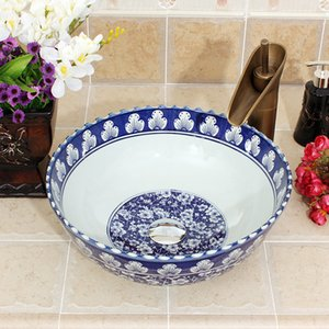 Blue and white Jingdezhen factory directly hand ceramic counter top wash basin
