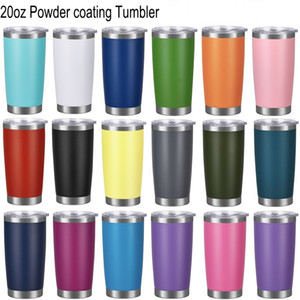20oz Powder coating Tumblers Stainless Steel Cups Vacuum Insulated Metal Water Bottle Beer Coffee Mugs With Lid 18 Colors
