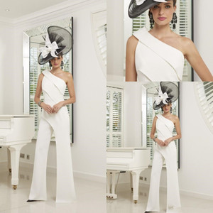 2020 Mãe elegante da noiva vestidos de um ombro hierárquico Saias Jumpsuit cetim Calças simples terno do casamento vestido Visitante
