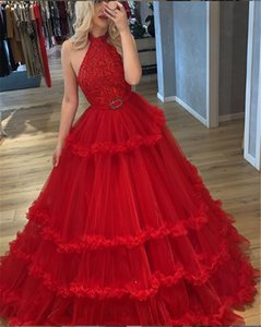 Red High Neck Lace Appliqued Prom Gown Sleeveless Evening Dresse Prom Dress Formal Evening Gowns Vestidos De Festa