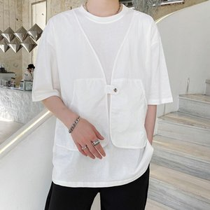 EWQ   men's wear 2020 summer new round collar patchwork fake two pieces t-shirt for male half sleeve loose tee tops 9Y2960