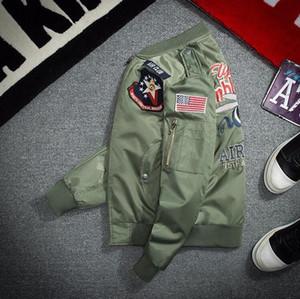 Мужская одежда Fashion Pilot MA-1 Куртка Бежевый Zip Tops Air Force One Геометрический рисунок Ретро Большой размер Army Green Топы Очень большой размер