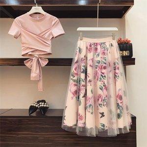 Высокое качество женщины нерегулярные футболка + сетка юбки костюмы бантом твердые топы старинные цветочные юбки наборы элегантная женщина из двух частей набор