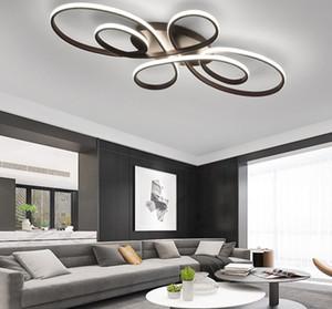 Neue heiße RC Weiß / Kaffee-Finish Moderne LED-Kronleuchter für Wohnzimmer Schlafzimmer Arbeitszimmer Raum dimmbare Deckenleuchter Befestigungen MYY