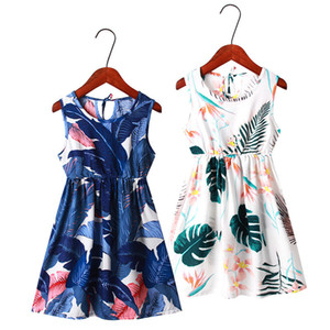 Ins Mädchen Blumenkleid 11 Farben Große Mädchen-Blume druckte Weste A-Linie Kleid-Kind-beiläufige Kleidung der Mädchen Outfits Kleinkind-Kleid 3-9T 060316
