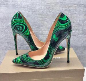 Шикарные женские туфли на высоких каблуках туфли на шпильке зеленый черный с лакированным принтом Point toe сексуальные туфли на высоких каблуках ну вечеринку туфли свадебные туфли 12см 10см