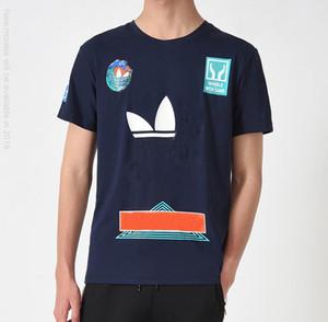 New American camiseta de la moda casual para hombre cuello redondo de la aptitud de impresión Blanco y Negro Camiseta caliente
