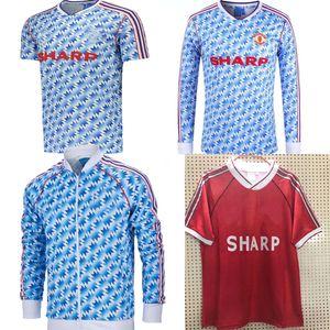 90 92 Retro Sürümü Birleşik uzakta Futbol Forma 1990/1992 Manchester ev Futbol Gömlek Erkekler UCL Final maçı Uzun kollu futbol üniforma Utd