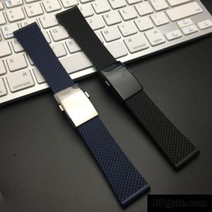 Bracciale qualità superiore di marca nero blu morbida gomma di silicone cinturino per Navitimer / vendicatore / Breitling cinghia 24 millimetri del cinturino Bracciale