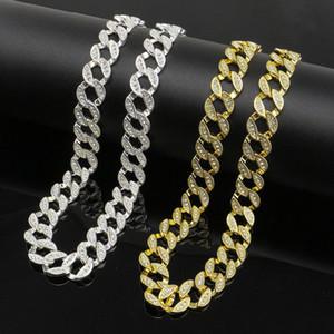 hip hop de tenis hombres collar de diamantes se graduaron 30 pulgadas raperos collar fresco de la joyería dos colores plata dorada