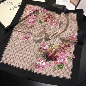 패션 - 실키, 편안하고 아름답고 우아한 여성 봄 및 상자 무료 배송없이 실크 스카프 50 * 50R 꽃 정사각형 스카프