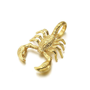 الرجال الذهب رائعة العقرب قلادة 316l الفولاذ المقاوم للصدأ الرجال الهيب هوب العقرب سلسلة سحر الشرير نمط مجوهرات التيتانيوم الصلب