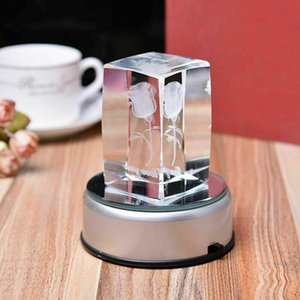 LED 3D زجاج كريستال جولة الليزر ضوء البطارية الكهربائية تصل قاعدة عرض موقف