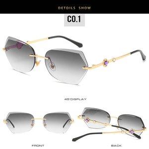 Trimmed rimless sunglasses Rimless Sunglasses Women 2018 Brand Irregular Trimmed Eyewear flower Metal Frame Sun Glasses Female UV400 l6MhR