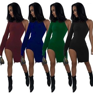Womens Dresses Legless Skinny Casual Women Designer Dress Summer Outer Wear Fashion Ladies Clothing One Sleeve Sexy