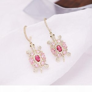 Cute Tortoise Design Earring for Women Luxury Cubic Zirconia Paved Plating Wedding Jewelry Ocean Animal Style Drop Earring New