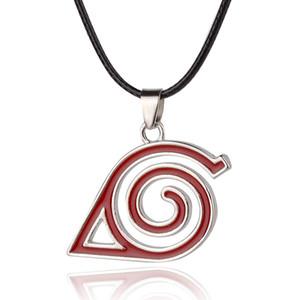 Hot Naruto Anime Logo Halsketten-Anhänger-Silber überzogene Leder-Ketten-Legierung Halskette Cosplay-Schmucksachen für Geschenk