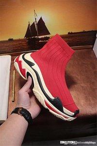 High Quality NO.1Balenciag 1 a Triple S Sneaker Black Knit Sock High-Top Sneaker Red Bordo Come With Original Box