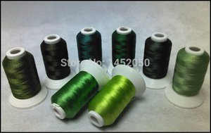 GREEN COLORS Embroidery Machine Thread 8 Spools + 25pcs Type A Plastic Prewound Bobbins