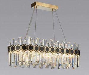 Moderna ovale lampadario di cristallo di illuminazione da studio di soggiorno ristorante LED luce lusso isola Cucina Lampadari Infissi LLFA