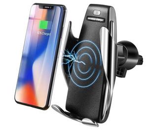 S5 caricabatterie automatico dei sensori wireless per auto per iPhone Xs Max Xr X Samsung S10 S9 intelligenti Infrarosso Veloce ricarica auto supporti del telefono Wirless