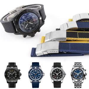 YQ 22 мм резиновый Силиконовый нейлон ремешок для часов Breitling Avenger Series Watches ремешок для часов Man Fashion Wristband черный синий желтый