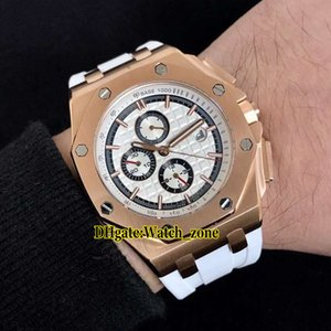 Cheap New Oak 26408OR.OO.A010CA.01 White Dial Automatic Mens Watch Rose Gold Case White Rubber Strap Sport High Quality Gents Sport Watches
