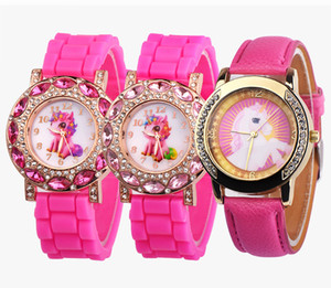 Schöne rosa einhorn kinder armbanduhren diamant cartoon lederarmband kinder quarzuhr für junge uhren relogio masculino