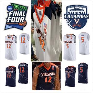 2019 Campeões 12 De'Andre Hunter 5 Kyle Guy Jersey NCAA Final Quatro Mens Azul Marinho Branco Virgínia Cavaliers Colleage Basketball Jerseys XXXL