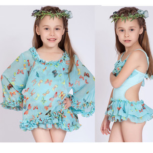 Meninas grandes 2pc set crianças swimwear borboleta imprimir Hot camisa primavera saia maiô blusa + biquíni maiô enrugada para 4-13T