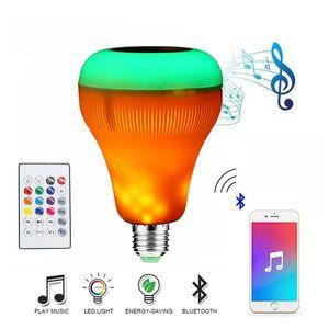 Edison2011 sem fio bluetooth speaker led rgb música inteligente lâmpada com efeito de chama luz e27 led rgb luz música tocando lâmpada