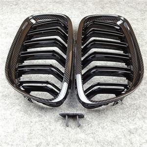 E90 Glossy Black Auto Front Body Kit Bumper Mesh Grill Grille Carbon look For 3series E90 2008-2011 Car Styling