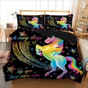 3PCS dos desenhos animados Unicorn cama Set bonito Duvet Cover Set for Kids Crianças Quilt Cover Set Rainha King Size