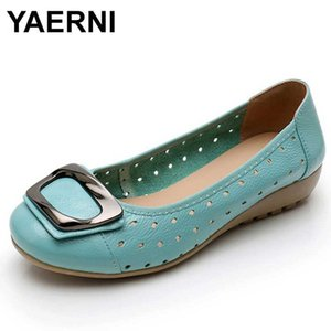 YAERNI big size 35-43 women Moccasins genuine leather Ballet flat shoes woman casual shallow no metal lace decoration Moccasins