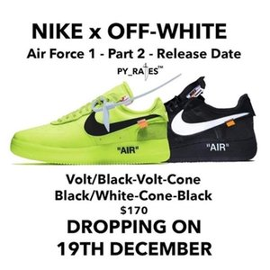 Nike air force one Airforce offwhite 1 AF1 Volt Off White Shoes Women Mens Trainers Airforce One Sports Skateboard 1 Green AIR Sneakers