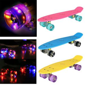 Ancheer 22 inch Skateboard Flashing Light Wheel Cruiser Style Skate Board Fun Complete Deck Mini Retro Longboard Stunt Scooter