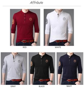 2020 New Fashion Brand Polo Shirt Stand Collar Trends Tops Street Wear Mercerized Cotton Long Sleeve Mens Clothing