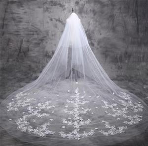 Lungo Wedding Veils nuziale di Tulle Veils Accessori sposa Nuovo 5m Popolare di lusso nuziale veli in pizzo velo da sposa