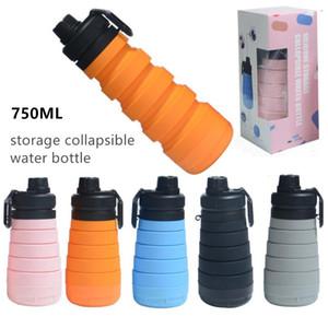 750ml 25oz Gıda Sınıfı Katlanabilir Depolama Silikon Su Şişesi Katlama Katlanır Sport Su Şişesi Seyahat BPA Free Şişe Kupalar İçme