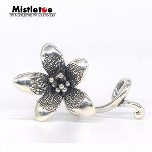 Mistletoe Jewelry Genuine 925 Sterling Silver Not Original Flower Troll Anemone Pendant Fit European Bracelet Without Bead C19041201