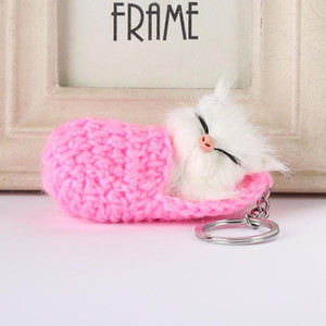 Sleeping Cat Pompom Keychains 7Colors Women Girls Handmade Woven Shoes Faux Rabbit Fur Kitten Key Chains Ring Fluffy Bag Charms Keyring