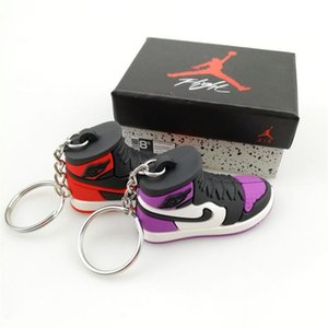 Keychain AJ Key Ring Accessories Charms Sneaker Shoes Box 3D Mobile Phone Strap Lanyard Basketball Shoes Model Popular Gift