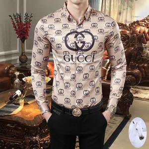2019 otoño y el invierno de los hombres de manga larga camisa de vestir la camisa Oxford camisa de la manera ocasional de la marca de ropa lar sociales de los hombres puros 89 Camisas de hombre