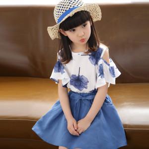 Niñas Falda de verano Ropa para niños Marca Chica Maple Print Top + Bow Tie Falda 2 piezas Fiesta infantil Set 4-14ages Ropa para niños Y190522