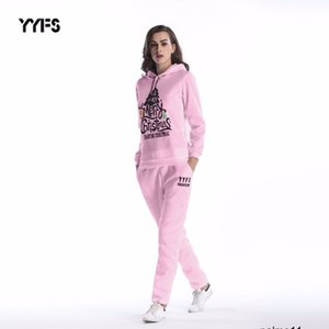 women designer Two-piece suit Christmas tree print loose hooded sweater pants women WB6E