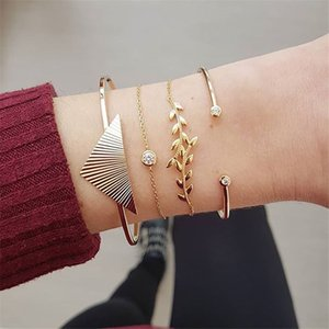 4PCS 큰 삼각형 잎 팔목 팔찌 Bangles 펑크 골드 체인 여성을위한 크리스탈 팔찌 세트 Vintage Boho Indian Jewelry 2019