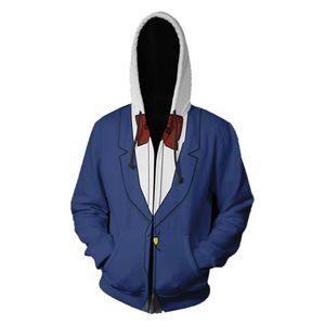 Detective Conan Cosplay con capucha Hombres Mujeres sudadera con cremallera Chaqueta de ropa de otoño Outwear Adultos